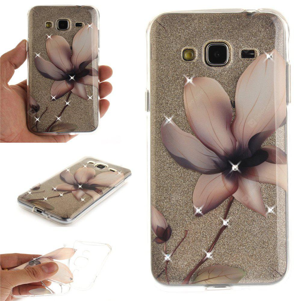 Magnolia Diamond Soft Clear IMD TPU Phone Casing Mobile Smartphone Cover Shell Case for Samsung J310 J3 2016