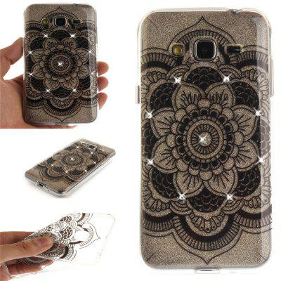 Black Sunflower Diamond Soft Clear IMD TPU Phone Casing Mobile Smartphone Cover Shell Case for Samsung J310 J3 2016