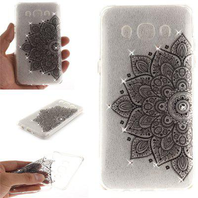 Black Half Flower Diamond Soft Clear IMD TPU Phone Casing Mobile Smartphone Cover Shell Case for Samsung J5 J510 2016