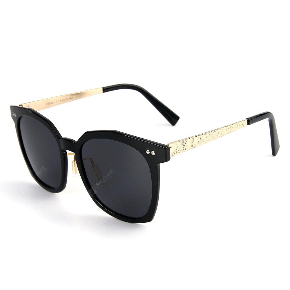 TOMYE 55924 Unisex Sunglasses Vintage Oversized Square Print Frame Polarized Light Chic Glasses