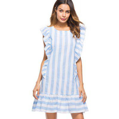 Women's Fashion Striped Ruffle Sleeveless Dress