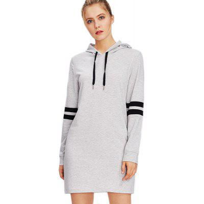 Women's Fashion Stitching Stripe Hooded Long-Sleeved Dress