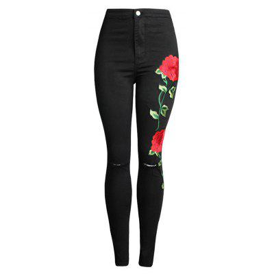 Women's Fashion Embroidered Hole Stretch Jeans