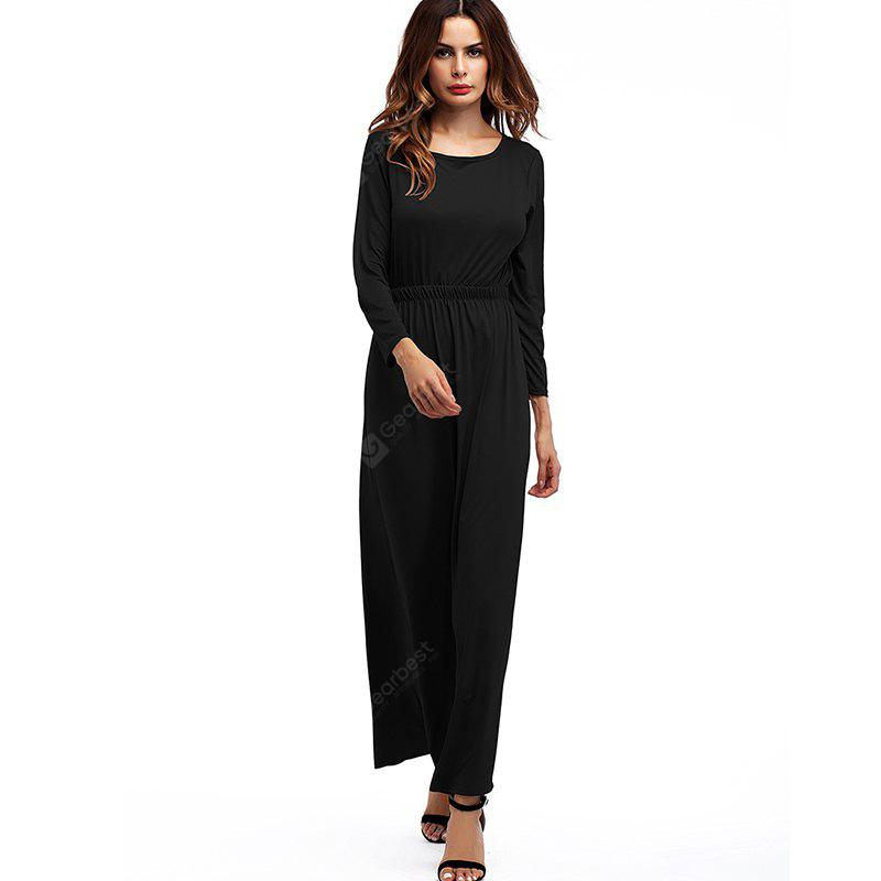 Women's Fashion Round Neck Solid Color Waist Long Sleeves Dress