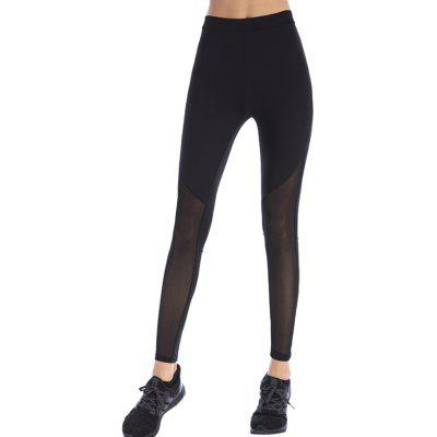 Damenmode Net Yarn Nähte Yoga Leggings