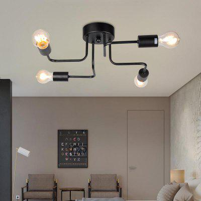 Modern Pendant Light Black Wrought Iron 4 Heads Classic Rustic  for Office Room Living Dining Room Bedrooms