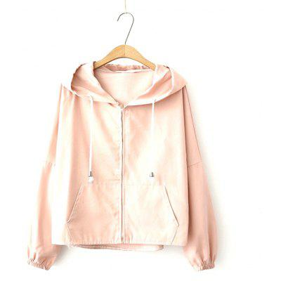 Buy PINK New Women's Cartoon Ear Hooded Long Sleeve Loose Fitting Short Coat for $35.33 in GearBest store