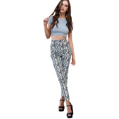 Women's snake pattern feet pants casual lady pants