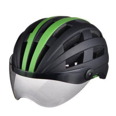 Luminous Bicycle Helmet Bike Cycling Adult Adjustable Unisex Safety with Visor Mirror