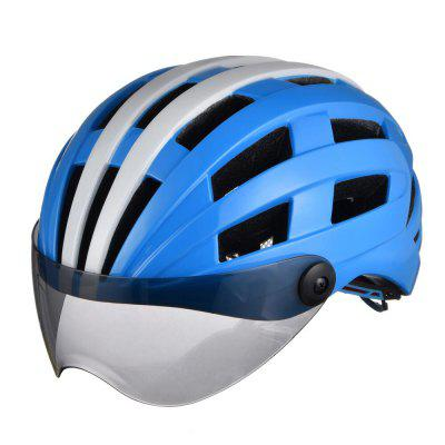 Luminous Bicycle Helmet Bike Cycling Mirrow Finished Adjustable Unisex Safety with Visor Mirror