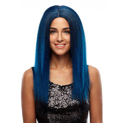 Rebecca Synthetic Hair Natural Blue Skin part Front Lace Wig Long Straight 24 Inch RC0629