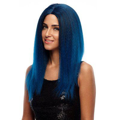 Rebecca Synthetic Hair Natural Blue Skin part Front Lace Wig Long Straight 24 Inch RC0629 24 silky straight synthetic lace front fashion lady blue party wig s02