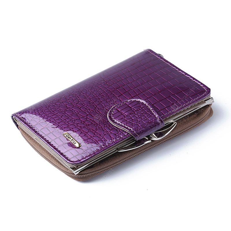 Fashion Real Patent Leather Women Short Wallets Small Wallet Coin Pocket Credit Card Wallet Female Purses Money Clip - PURPLE