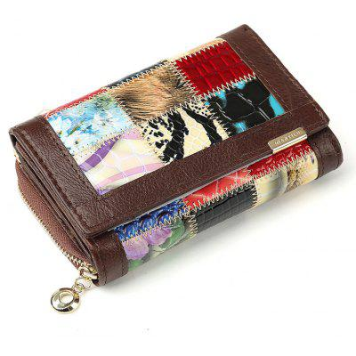 Genuine Leather Women Wallets Coin Pocket Fashion Women Wallet Patchwork Purse Female Long Design