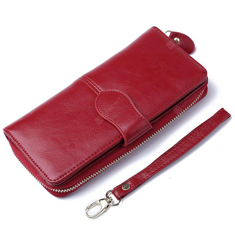 100% Oil Wax Leather Vintage Clutches Purse Genuine Leather Women's Wallets Zipper Coin Purse Day Cluthes Bags