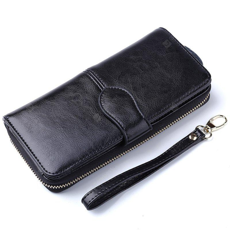 100% Oil Wax Leather Vintage Clutches Purse Genuine Leather Women's Wallets Zipper Coin Purse Day Cluthes Bags - BLACK