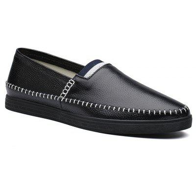 Buy Sewing Pattern Mens Casual Slip on Loafers Vintage Genuine Leather Moccasin-gommino Shoes for Men BLACK 43 for $69.51 in GearBest store