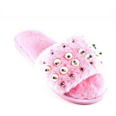 Faux Pearl DecoratedFaux Fur Overlay Flat Slippers