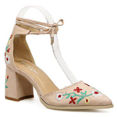 Ladies Rubber Sole Embroidered with Pointed Toes and Sandals