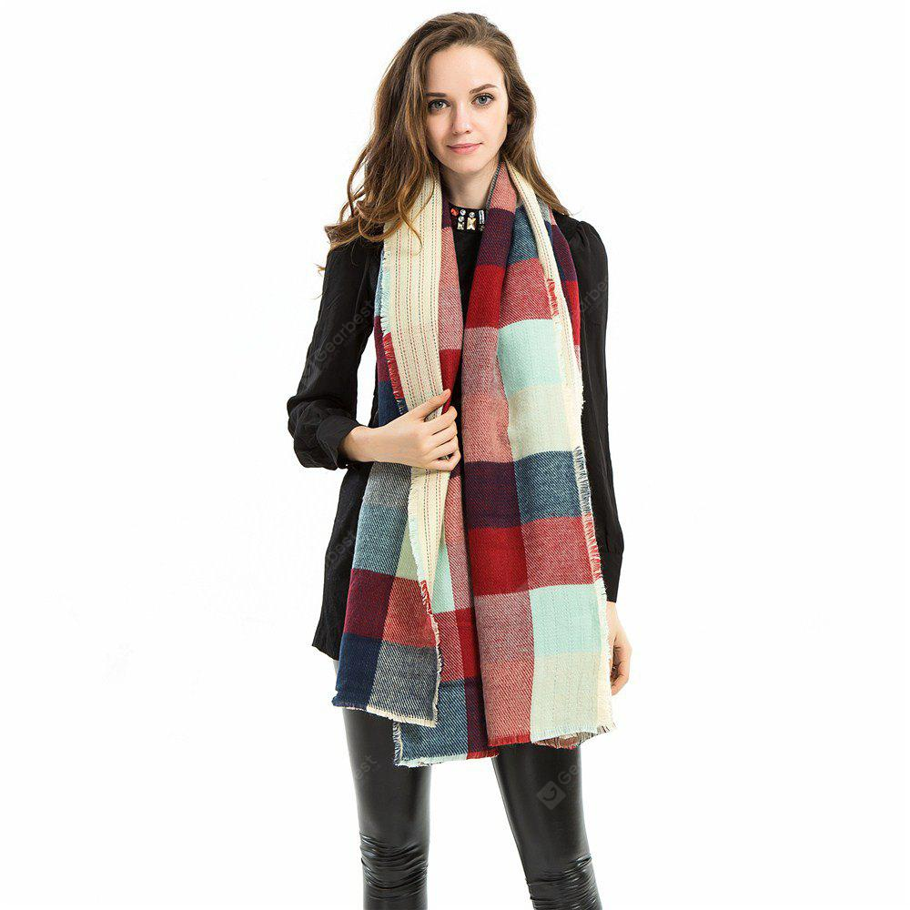 Z1566 colored Plaid imitated cashmere fringed scarf