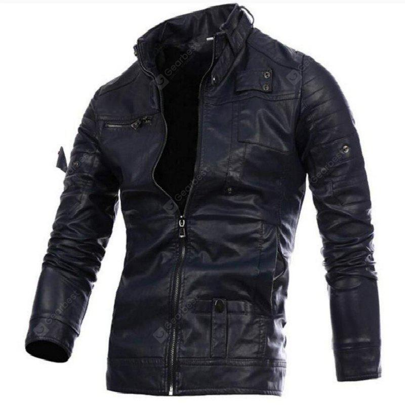 Men'S Leather Jacket Collar British Fashion Leisure A191