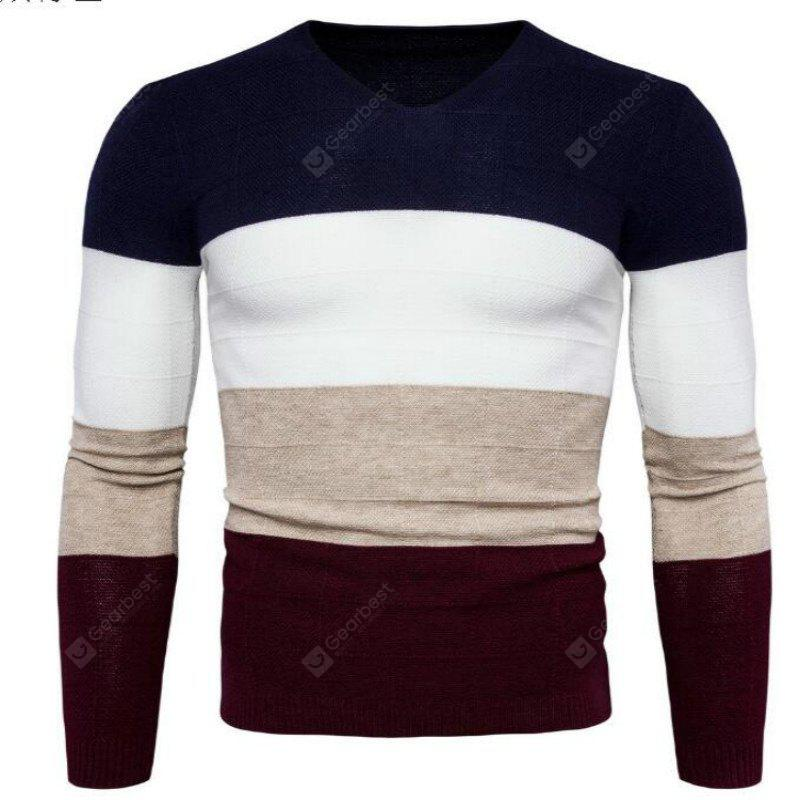 New Mens Sweater Knit Collar V Four-Color Color Y961
