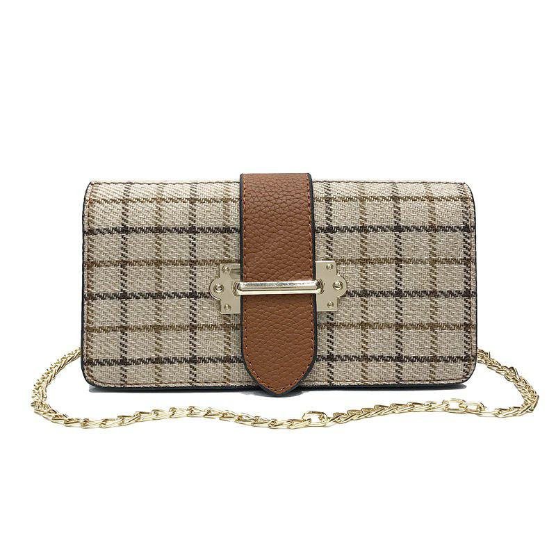 Borsa a tracolla a tracolla a catena in lana color plaid