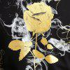 2018 Spring New 3D Digital Rose Printed Long Sleeved T-Shirts - BLACK