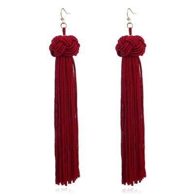 Ethnic Charm  Cotton Long Line Tassels Earrings For Women