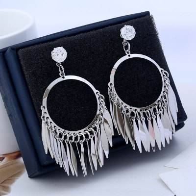 Feather Pendant Classical Tassel Drop Earrings For Women