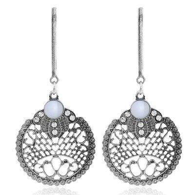 Crystal Round Hollow  Drop Earrings For Women