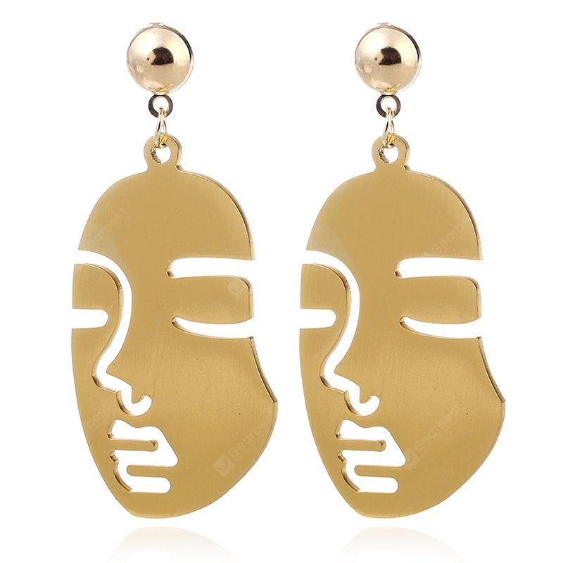 Fashion Classic Gold Charm Face Pendant Earring for Woman