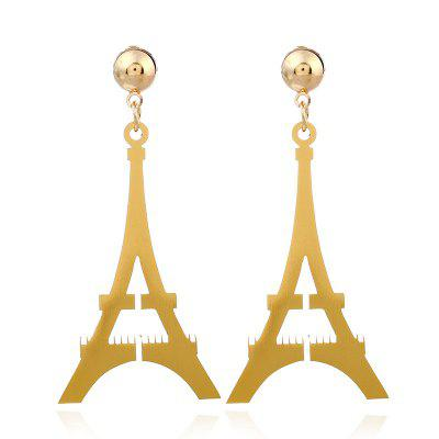 Classic Metal Triangle Hollow Gold Tower Drop Earrings For Woman