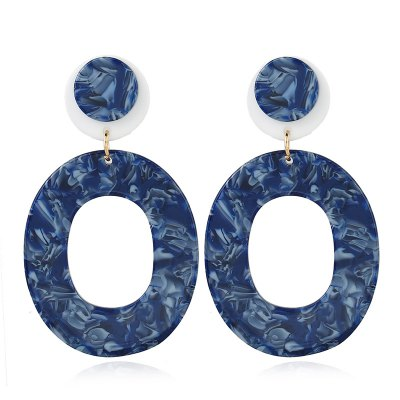 Fashion Resin Crystal Double Round Long Drop Earrings for Women