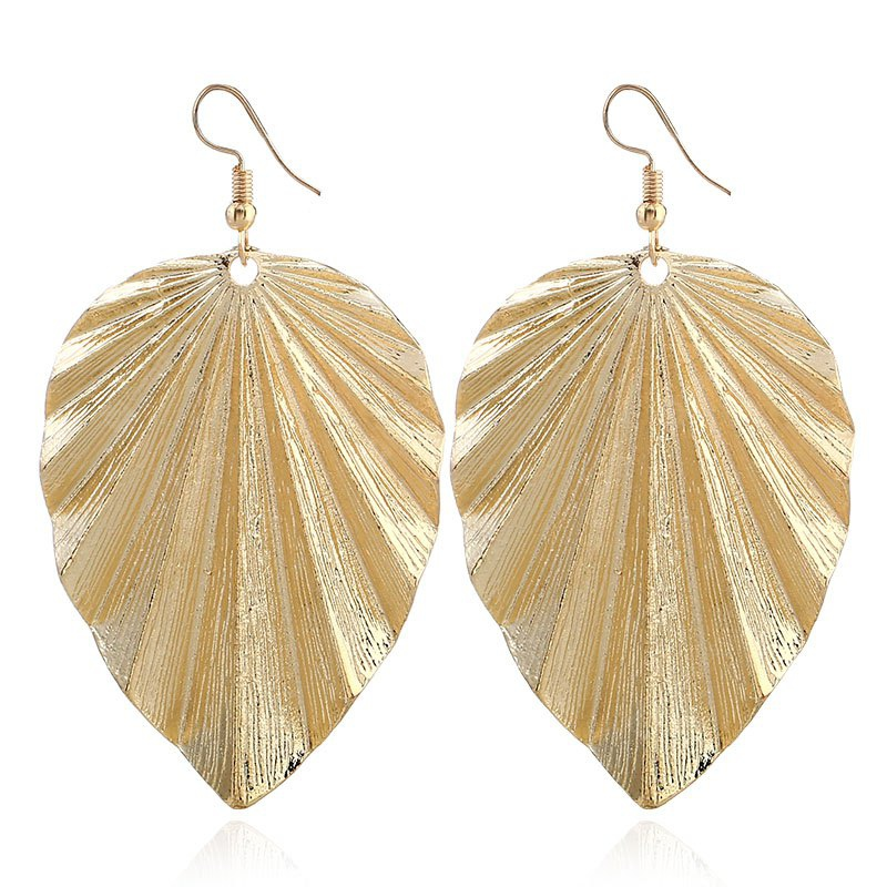 Fashion Metallic Color  Plant Leaf Drop Earrings For Female