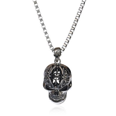 Hiphop Punk Rhinestone Skeleton Unisex Pendant Necklaces