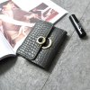Retro Wild Buckle Soft Wallet Korean Folding Card Package - GRAY