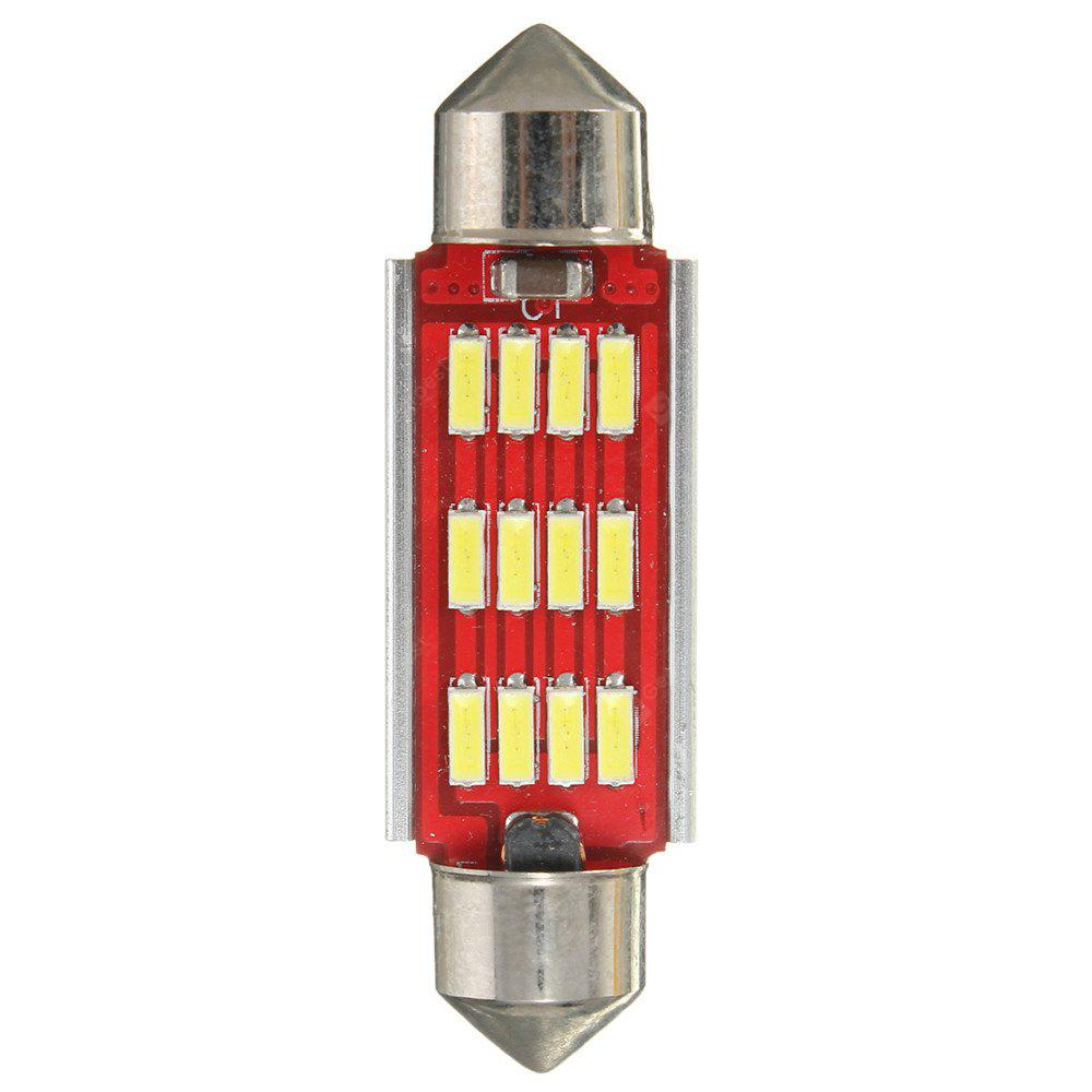 White Festoon Canbus Error Free Interior Light Bulb 36 39 42mm 12SMD 4014 LED RED AND SILVER