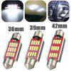White Festoon Canbus Error Free Interior Light Bulb 36 39 42mm 12SMD 4014 LED - RED AND SILVER