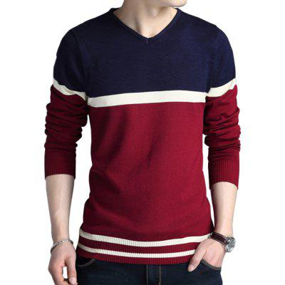 V Neck Pullover Men'S Cotton Sweater Patchwork Quality Knitwear