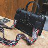 Female Rivets Wide Shoulder Strap Messenger Box Package - BLACK