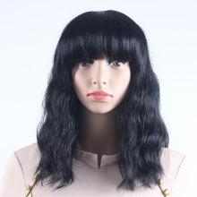 Black Long Natural Wavy Heat Resistant Synthetic Hair Wigs for Women with  Bangs DZ0011 1e68e69eb1