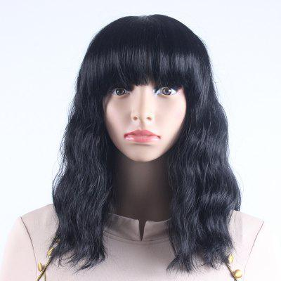 Black Long Natural Wavy Heat Resistant Synthetic Hair Wigs for Women with Bangs DZ0011