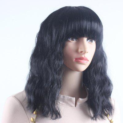 Black Long Natural Wavy Heat Resistant Synthetic Hair Wigs for Women with Bangs DZ0011 2016 hot sale heat resistant wigs wavy