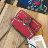 Pearl Rivets Square Package Retro Wild Shoulder Messenger Bag - RED