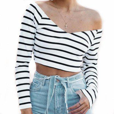 Short Stripe T-Shirt Sexy Strapless Tops V collar