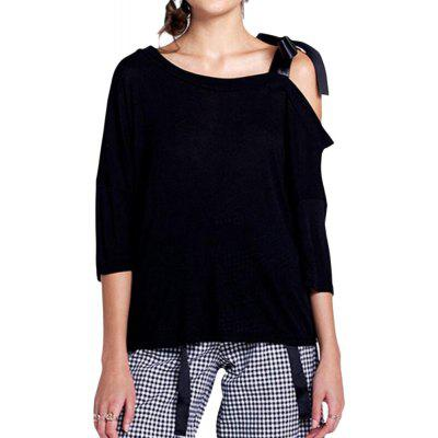 Asymmetric Strapless Lace Bow Tie   loose bat sleeve T-shirt