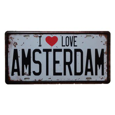 I Love Amsterdam Vintage Metal Painting per Cafe Bar Restaurant Wall Decor