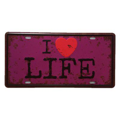 I Love Life Vintage Metal Painting for Cafe Bar Restaurant Wall Decor