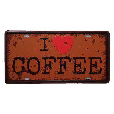 I Love Coffee Vintage Metal Painting for Cafe Bar Restaurant Wall Decor